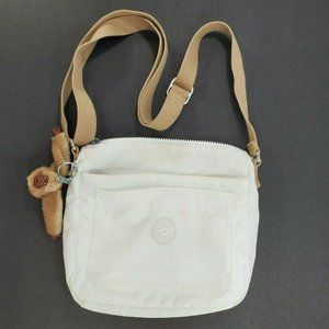Kipling White Cross Body Purse  Nylon Monkey